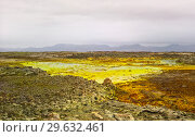 Panorama inside Dallol volcanic crater in Danakil depression, Afar Ethiopia (2016 год). Стоковое фото, фотограф Сергей Майоров / Фотобанк Лори