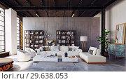 Купить «modern loft living room interior.», фото № 29638053, снято 20 января 2019 г. (c) Виктор Застольский / Фотобанк Лори