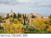 Купить «Autumn in Granada, Alhambra.», фото № 29641305, снято 18 ноября 2018 г. (c) Сергей Дрозд / Фотобанк Лори