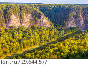 Купить «Panoramic scenic view from above on the rocky shore of the river. The nature of the Urals.», фото № 29644577, снято 7 сентября 2018 г. (c) Акиньшин Владимир / Фотобанк Лори