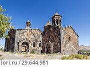Купить «Medieval armenian monastery Saghmosavank, located near  gorge of Kassakh river. Ashtarak district, Armenia», фото № 29644981, снято 29 сентября 2018 г. (c) Наталья Волкова / Фотобанк Лори