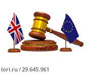 Купить «flag EU and Great Britain and wooden gavel on white background. Isolated 3D image», иллюстрация № 29645961 (c) Ильин Сергей / Фотобанк Лори