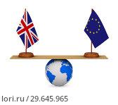 Купить «flag EU and Great Britain on scales. Isolated 3D illustration», иллюстрация № 29645965 (c) Ильин Сергей / Фотобанк Лори