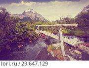 Купить «Bridge over creek at foot of Andes mountains», фото № 29647129, снято 1 февраля 2017 г. (c) Яков Филимонов / Фотобанк Лори