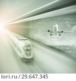 Купить «Speed of train and plane traveling», фото № 29647345, снято 20 января 2019 г. (c) Яков Филимонов / Фотобанк Лори