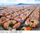 Купить «Aerial view of Barcelona Eixample district», фото № 29648721, снято 30 октября 2018 г. (c) Яков Филимонов / Фотобанк Лори