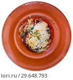 Купить «Portion of delicious moussaka», фото № 29648793, снято 16 января 2019 г. (c) Яков Филимонов / Фотобанк Лори