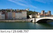 Купить «Cityscape of Lyon, town in France at riverside Saone at sunny day», фото № 29648797, снято 12 октября 2018 г. (c) Яков Филимонов / Фотобанк Лори