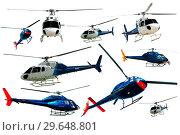 Купить «Helicopters set isolated», фото № 29648801, снято 25 октября 2017 г. (c) Яков Филимонов / Фотобанк Лори