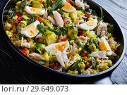 Купить «tasty Kedgeree, british cuisine, view from above», фото № 29649073, снято 25 декабря 2018 г. (c) Oksana Zh / Фотобанк Лори
