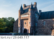 Купить «The turrets and drawbridge of the 14th century Chateau de Trecesson in the Forest of Paimpont», фото № 29649117, снято 18 сентября 2017 г. (c) Николай Коржов / Фотобанк Лори
