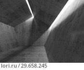 Купить «Concrete interior with ceiling light lines. 3d», иллюстрация № 29658245 (c) EugeneSergeev / Фотобанк Лори