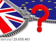 Купить «flag EU and Great Britain and zipper. 3D image», иллюстрация № 29658461 (c) Ильин Сергей / Фотобанк Лори