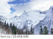 Купить «Заснеженные вершины гор укутывают белые облака. Зима в Домбае», фото № 29658645, снято 15 декабря 2018 г. (c) Наталья Гармашева / Фотобанк Лори