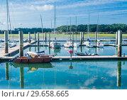 Купить «Boats docked at the marina of Keroman-La Base, Lorient, Brittany, France», фото № 29658665, снято 19 сентября 2017 г. (c) Николай Коржов / Фотобанк Лори