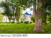 Купить «St. George (Yuriev) Orthodox Male Monastery in Veliky Novgorod, Russia», фото № 29659405, снято 17 августа 2017 г. (c) FotograFF / Фотобанк Лори