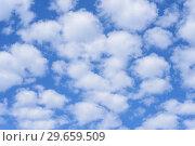 Купить «Blue sky background with clouds.», фото № 29659509, снято 24 июня 2018 г. (c) Ирина Носова / Фотобанк Лори