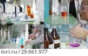 Купить «4 in 1 - chemical laboratory. two young woman searching for a new reaction», видеоролик № 29661977, снято 20 февраля 2020 г. (c) Константин Шишкин / Фотобанк Лори