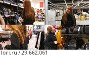 Купить «4 in 1 - young woman in shopping mall searching for clothes and accessories», видеоролик № 29662061, снято 23 января 2019 г. (c) Константин Шишкин / Фотобанк Лори