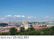 Top view of the panorama of the city with the river (2018 год). Редакционное фото, фотограф Сергей Журавлев / Фотобанк Лори