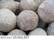 Gray packed stone cores close-up. Стоковое фото, фотограф Сергей Журавлев / Фотобанк Лори