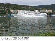 Купить «Летний вид на круизный лайнер в морском порту», фото № 29664981, снято 4 сентября 2018 г. (c) А. А. Пирагис / Фотобанк Лори