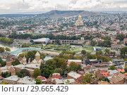 Купить «View from Mtatsminda Mountain on Tbilisi», фото № 29665429, снято 23 сентября 2018 г. (c) Юлия Бабкина / Фотобанк Лори