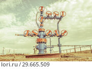 Купить «Wellheads with valve armature on a oil field», фото № 29665509, снято 24 мая 2016 г. (c) bashta / Фотобанк Лори