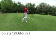 Купить «A man Teeing off in Golf», видеоролик № 29665597, снято 7 июня 2007 г. (c) Wavebreak Media / Фотобанк Лори