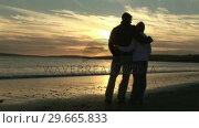Купить «A Couple looking at the sunset», видеоролик № 29665833, снято 11 декабря 2007 г. (c) Wavebreak Media / Фотобанк Лори