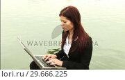 Купить «Businesswoman Working outdoors», видеоролик № 29666225, снято 15 февраля 2008 г. (c) Wavebreak Media / Фотобанк Лори