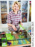 Portrait of female cashier standing at cash desk with scissors. Стоковое фото, фотограф Яков Филимонов / Фотобанк Лори