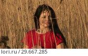 Купить «Woman in Reeds», видеоролик № 29667285, снято 23 марта 2019 г. (c) Wavebreak Media / Фотобанк Лори