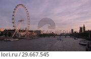 Купить «View of the Thames River», видеоролик № 29667545, снято 19 июля 2019 г. (c) Wavebreak Media / Фотобанк Лори