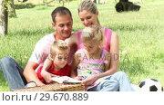 Купить «Parents and children reading in a park», видеоролик № 29670889, снято 13 октября 2009 г. (c) Wavebreak Media / Фотобанк Лори