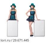 Купить «Young pretty woman in a hat with blank board isolated on white», фото № 29671445, снято 27 августа 2013 г. (c) Elnur / Фотобанк Лори