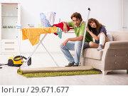 Купить «Husband helping leg injured wife in housework», фото № 29671677, снято 4 октября 2018 г. (c) Elnur / Фотобанк Лори