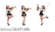 Купить «Young woman playing violin on white», фото № 29671685, снято 30 января 2013 г. (c) Elnur / Фотобанк Лори