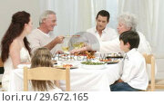 Купить «Panorama of parents, children and grandparents having dinner at home», видеоролик № 29672165, снято 20 октября 2009 г. (c) Wavebreak Media / Фотобанк Лори