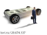 Купить «Businessman in the business concept with dollar car», фото № 29674137, снято 27 июня 2019 г. (c) Elnur / Фотобанк Лори