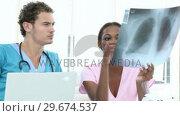 Купить «Serious doctors examining an xray», видеоролик № 29674537, снято 19 апреля 2019 г. (c) Wavebreak Media / Фотобанк Лори