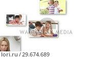 Купить «Collage of merry families having fun», видеоролик № 29674689, снято 10 июля 2020 г. (c) Wavebreak Media / Фотобанк Лори