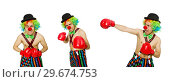 Купить «Clown with boxing gloves isolated on the white», фото № 29674753, снято 21 апреля 2014 г. (c) Elnur / Фотобанк Лори