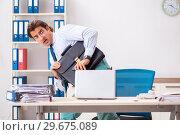 Купить «Businessman disgusted with cockroaches in the office», фото № 29675089, снято 25 сентября 2018 г. (c) Elnur / Фотобанк Лори