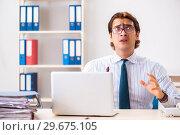 Купить «Businessman disgusted with cockroaches in the office», фото № 29675105, снято 25 сентября 2018 г. (c) Elnur / Фотобанк Лори