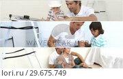 Купить «Montage of family doing DIY», видеоролик № 29675749, снято 3 апреля 2020 г. (c) Wavebreak Media / Фотобанк Лори
