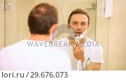 Купить «Handsome man shaving his beard in front of a mirror», видеоролик № 29676073, снято 7 ноября 2010 г. (c) Wavebreak Media / Фотобанк Лори