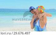 Aged man hugging his wife. Стоковое видео, агентство Wavebreak Media / Фотобанк Лори