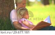 Купить «Young girl reading a book with her mother», видеоролик № 29677181, снято 16 ноября 2010 г. (c) Wavebreak Media / Фотобанк Лори