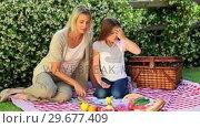 Купить «Young woman and daughter having a picnic on lawn», видеоролик № 29677409, снято 6 ноября 2010 г. (c) Wavebreak Media / Фотобанк Лори